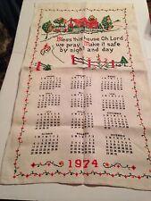 VINTAGE 1974 BLESS THIS HOUSE CALENDAR LINEN TOWEL
