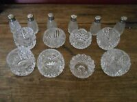 8 Antique Salts and 6 Antique Shakers with Silver Lids