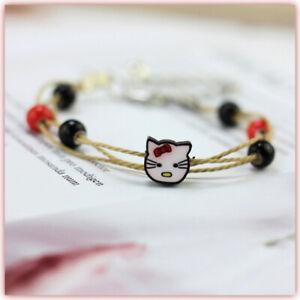 Adjustable Bracelet Cute Panda Bear Cat Ceramic Beads Ladies Girls Friendship