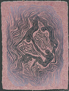 Woodblock Print Floating World IV Dancing Figures Surreal Woodcut Hickory Paper