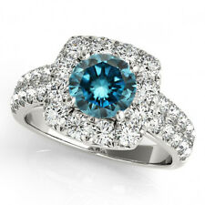 1.58 Carat White & Blue Diamond Solitaire Engagement Bridal Ring 14k White Gold