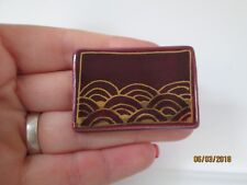 Brooch Pin purple pottery clay Gold painted Accents Ceramic abstract retro Art
