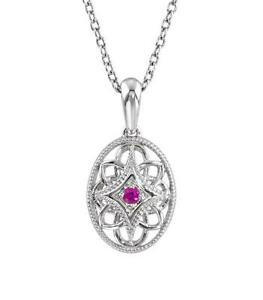 925 Sterling Silver Ruby Solitaire Necklace 18 Inch Cable Chain & Pendant