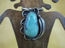 Vintage Turquoise Pendant with Shepherds Hook Sterling Silver Navajo Old Pawn