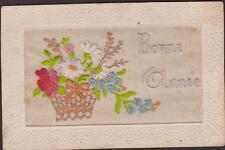 CARTE POSTALE ANCIENNE BRODEE -1916 -Panier fleuri- ROSES/MARGUERITE/MYOSOTIS