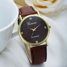 Ladies Gold Geneva Platinum Range Quartz Snow Flake Coffee Faced Wrist Watch.