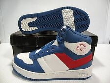 PONY CITY WINGS HI CHEVRON SNEAKERS MEN SHOES WHITE/BLUE/RED SIZE 8.5 NEW