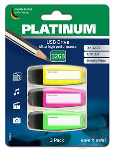 3x 32 GB Platinum USB 2.0 USB-Stick mit Beschriftungsfeld in Text-Marker Optik
