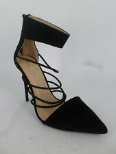 Glamorous Pointed Stiletto Heeled Ankle Cuff Shoes Black UK 4 EU 37 LN088 AE 04