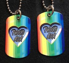 Rainbow Gay/Lesbian Proud MOM 2-Sided Color Photo Dog Tag Necklace / Keychain