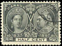 1897 Used Canada 1/2c F+ Scott #50 Diamond Jubilee Stamp