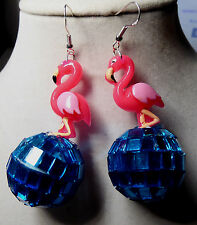 PINK FLAMINGO 70s & 80s EARRINGS 925 sterling Hooks Blue DISCO BALL Handcrafted