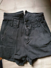 BGD: Black Distressed Demin Pleated High Waist Relax Fit Shorts 100% Cotton S