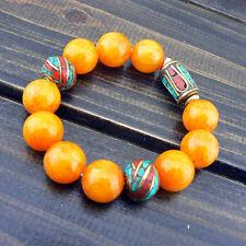 Tibetan Style Amber Color Jade Turquoise Coral Beads Strand Handmade Bracelet