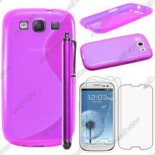Housse Etui Coque Silicone Violet Samsung Galaxy S3 i9300 + Stylet + 3 Films