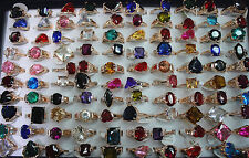 wholesale jewelry lots 25pcs big colorful zircon rose gold  plated Lady's rings