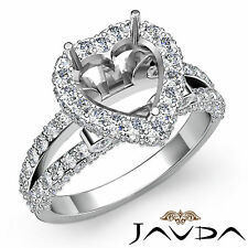Diamond Engagement Heart Shape Ring 18k White Gold Halo Setting Semi Mount 1.55C