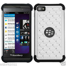 BlackBerry Z10 Laguna Spot Diamond Hybrid Case Skin Cover White Black