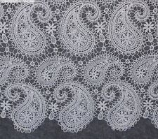 Stunning White Paisley Pattern Lace Fabric 125cm Wide By the Yard