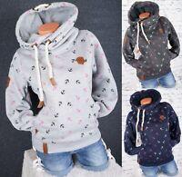 Damen Kapuzenpullover Sweatshirt warmer Fleece Pulli Hoodie S M L XL 2XL 3XL K04