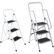 More details for 3 step ladder safety anti slip rubber mat tread handrail steel folding frame diy