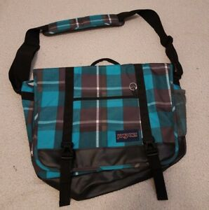 Jansport Messenger Tote Laptop School Work Bag Teal and black Plaid