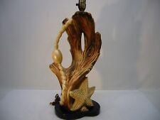 "VTG Table Lamp Nautical Ceramic Driftwood Starfish ocean 37"" 1950's Gaudy Retro"