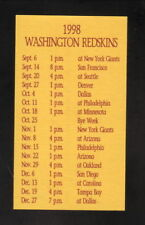 Washington Redskins--1998 Pocket Schedule--Wood's Sports Memorabilia