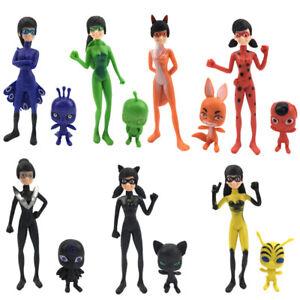 7PCS Action Dolls Miraculous Ladybug Figuren Modell Toys Geschenk PVC Spielzeug