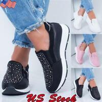 Women's Casual Bling Rhinestone Sneaker Shoe Ladies Flat Zip Sport Walking Shoes