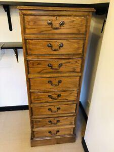 Vintage Oak 4 Drawer Filing Cabinet