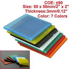 7 Sheets Of Mix Bullseye 3mm Kiln Fusing Glass 50 x 50mm For Microwave Kiln DIY