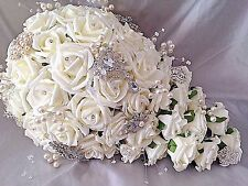 TEARDROP BROOCH WEDDING BOUQUET IVORY ROSES WITH PEARL'S DIAMANTE & BROOCHES