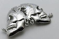Hot Men Women Belt Buckle Silver Skeleton Skull Shiny Silver Pirate Smoking Goth