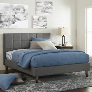 "Better Homes & Gardens Knox 43"" Upholstered Platform Bed, Gray, Queen"