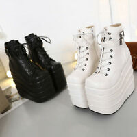 Womens High Platform Wedge Heel Creepers Oxfords Casual Punk Goth Lace Up Shoes