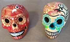 Day of the dead, Hand painted Ceramic skull, Catrina, Pottery - Set of 2