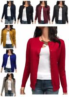 Women Cardigan Long Sleeve Solid Open Front Knit Sweater Cardigan (S-3XL)