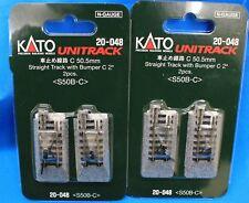 "LOT of 2 - N Scale KATO UNITRACK 20-048 STRAIGHT TRACK w/.BUMPERC -  2"" - 2pcs"