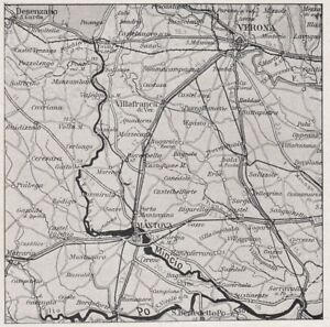 D4052 Trail Of River Mincio - Map Geographical Period - 1939 Vintage Map