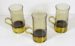 Vintage Beucler Tea / Coffee Glasses with Brass Holders , Set of 3