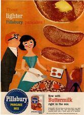 1956 PILLSBURY Pancake Mix - Family Enjoying Pancakes Art - Retro VINTAGE AD