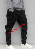 Boy Mens Black Harem Pants Loose Jogger Cargo Carpenter Long Flare Trousers Hot