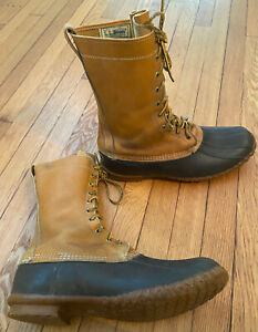 L.L. Bean Made in USA Maine Hunting Duck Tall Leather Boots, size 14