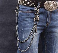 Mens Skull Clasp Double Chain Biker Trucker Punk Keychain Key Jean Wallet Chain