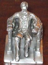 Large Abraham Lincoln Memorial Pewter Metal Die-Cast Figurine by Bates & Klinke