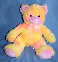 "Play Time Toys Plush TEDDY BEAR 16""  Sherbet Neon Orange Pink Stuffed Soft Toy"