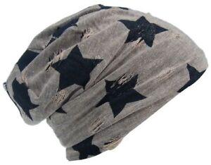 Cool4 Vintage Star Beanie Destroyed Used Look Beige Brown Slouch Hat VSB09