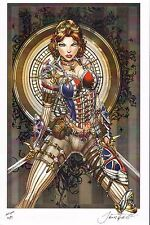 Sexy LADY MECHANIKA Red Print HAND SIGNED by Jamie Tyndall w COA