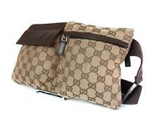 d6f8974635e885 Authentic Gucci GG Pattern Browns Canvas Leather Waist Belt Bag GW1876